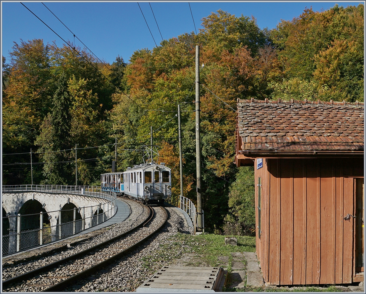 The MOB BCFe 4/4 N° 11 on the way to Chaulin by Vers-chez-Robert. 