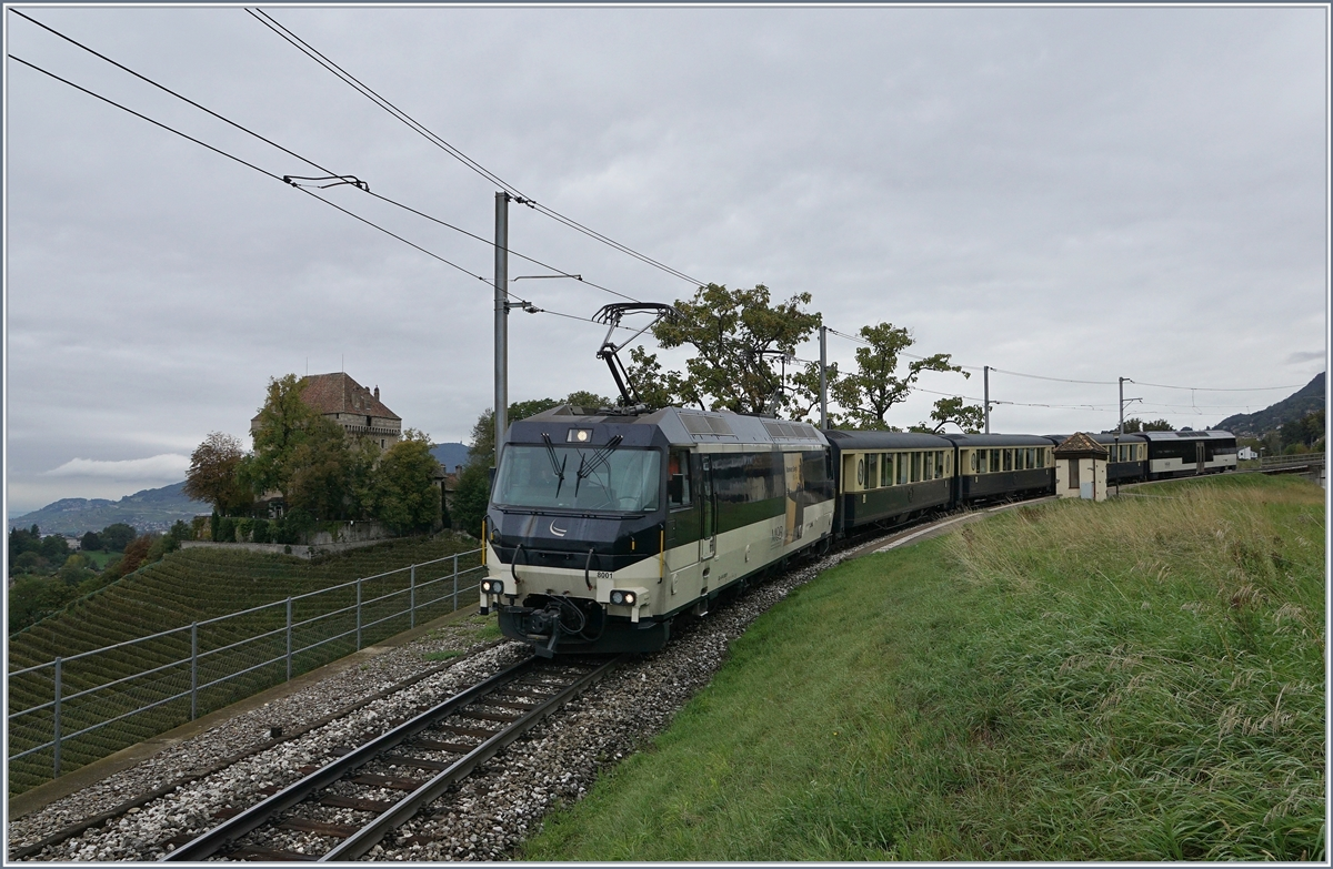 The MOB Ge 4/4 8001 with Belle Epoque service from Zweisimmen to Montreux.