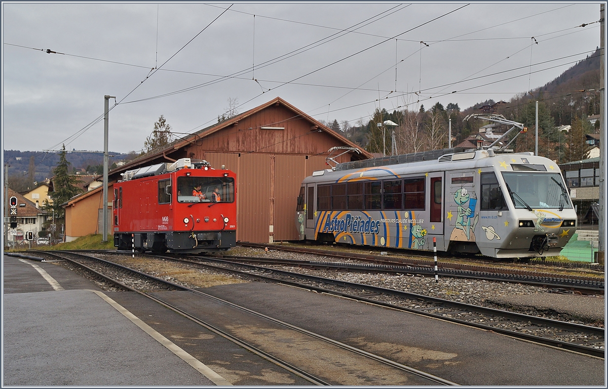 The MOB HGem 2/2 2501 by Test-Runs in Blonay.