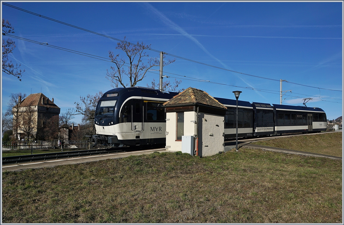 The MVR ABeh 2/6 7508 by the Châtelard VD Station.
