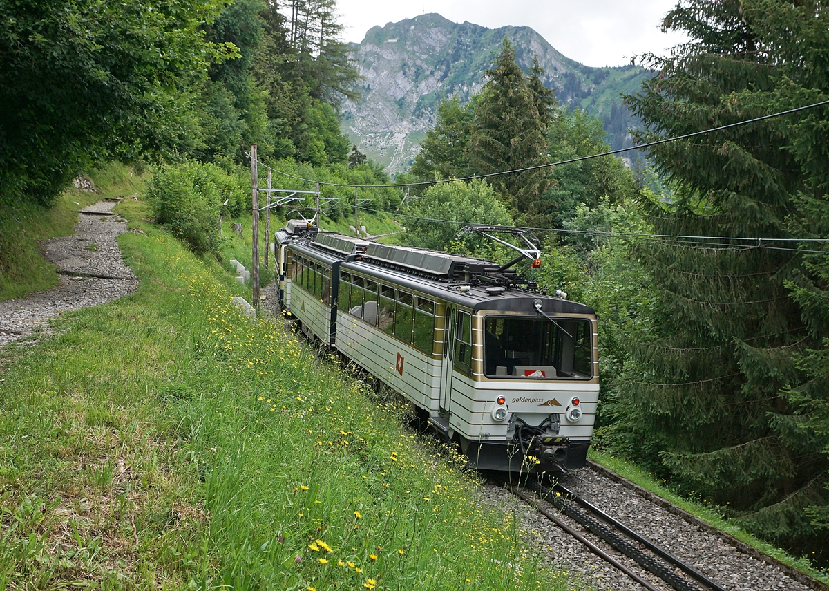 The Rochers de Naye Be 4/8 304 and 305 on the way to the summit by Caux. 