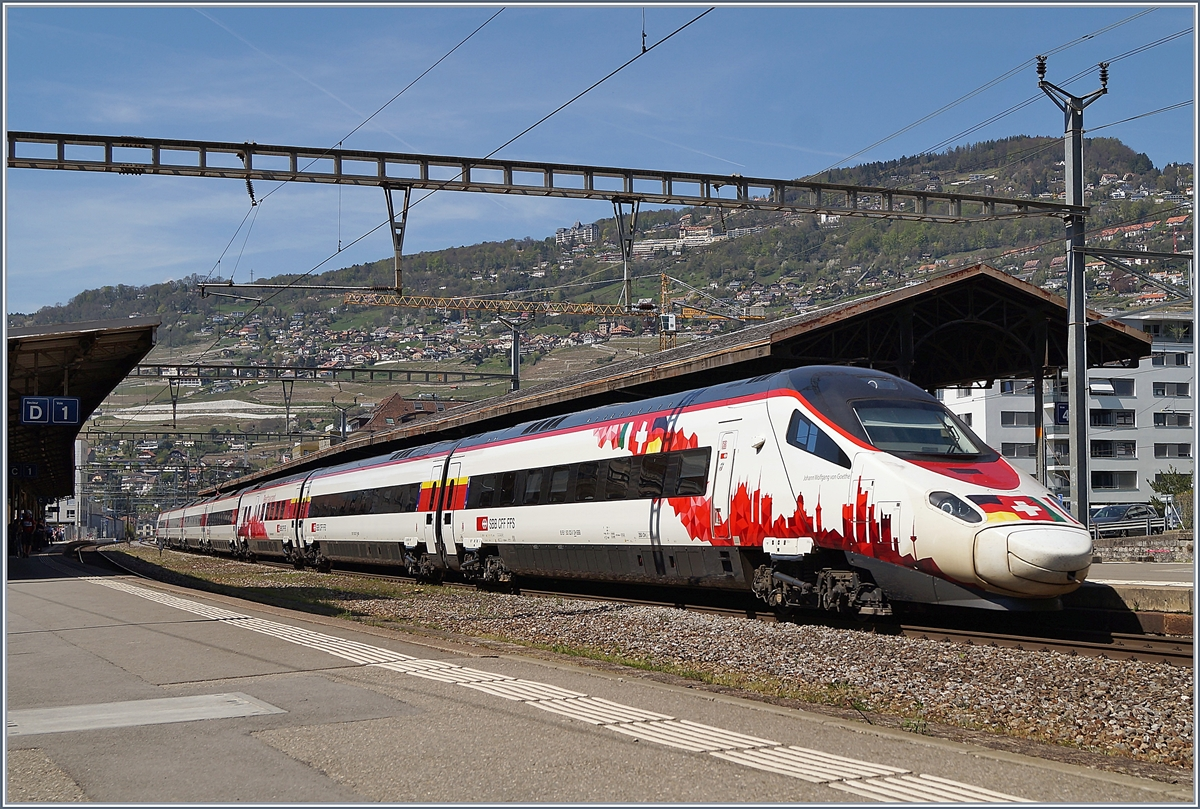 The SBB ETR 610 RABe 503 022-7  Johann Wolfgang von Goethe  on the way to Milano in Vevey.