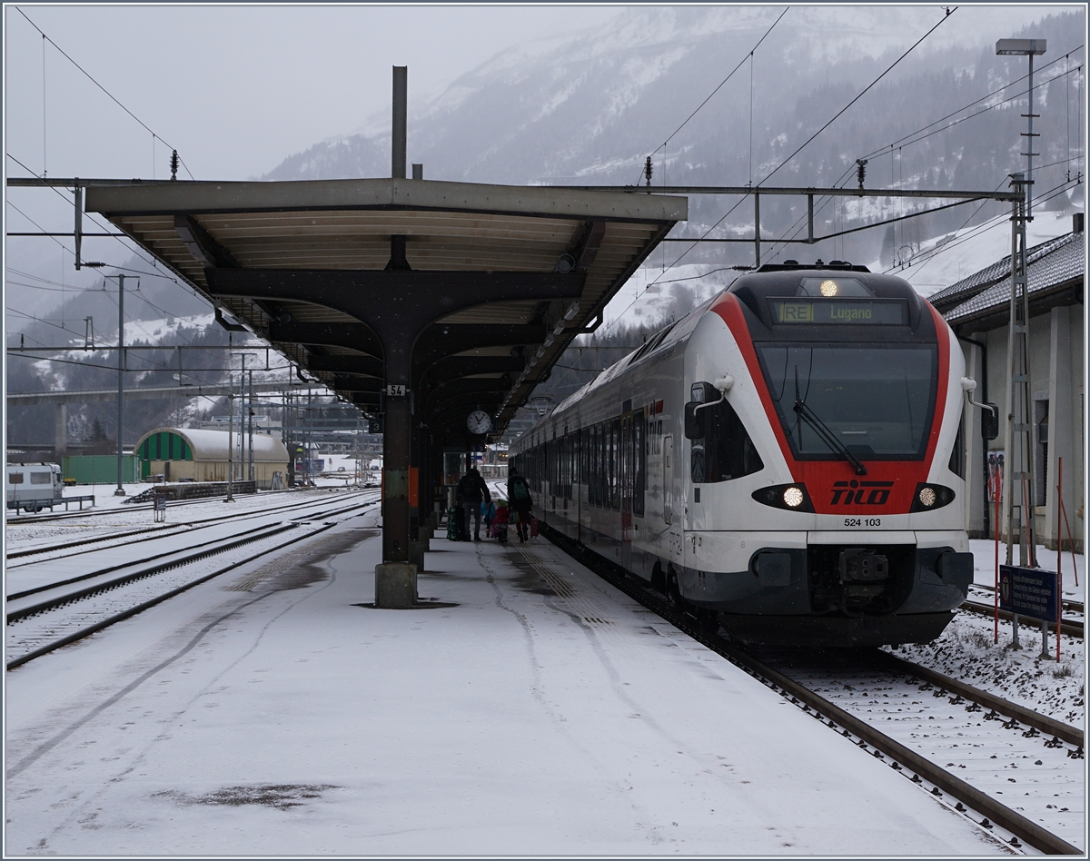 The SBB FFS Tilo RABe 524 103 from Erstfeld to Lugano by his stop in Airolo.