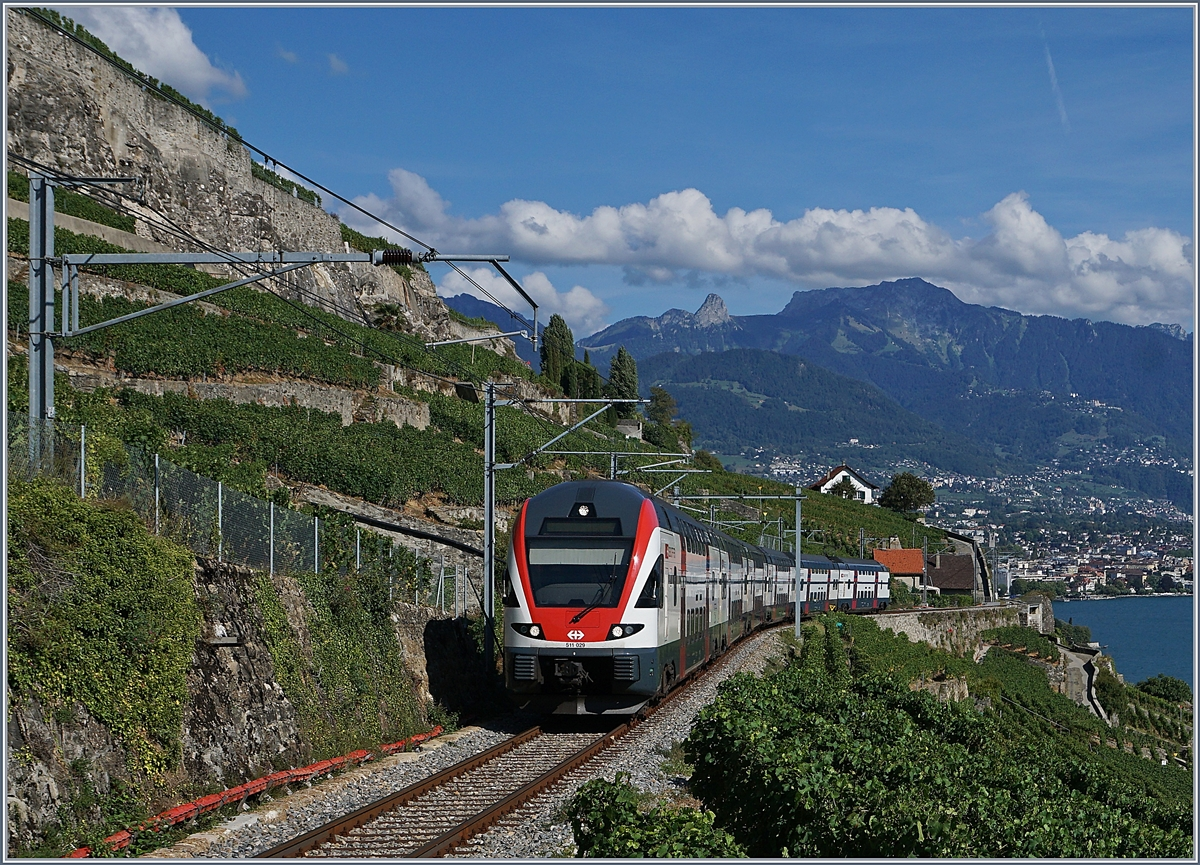 The SBB RABe 511 029 on the way to Fribourg between Vevey and Chexbres.