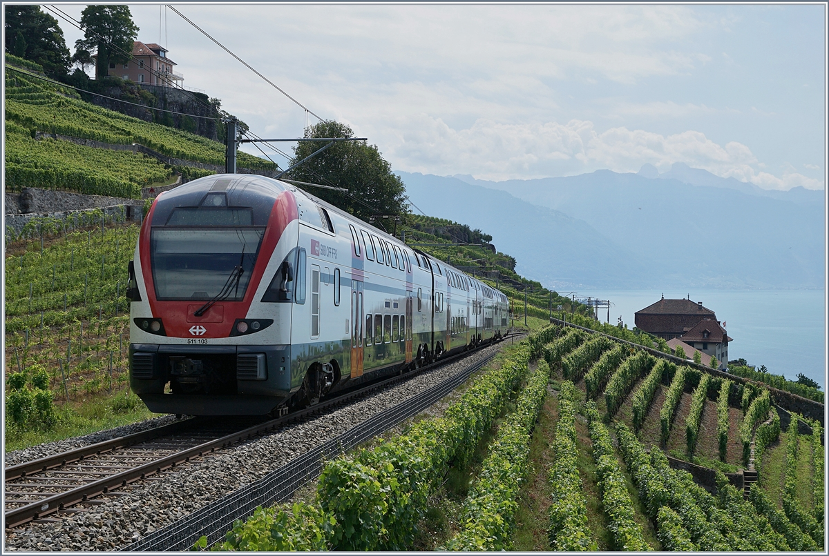 The SBB RABe 511 103 on the way to Vevey and Geneva near Chexbres.