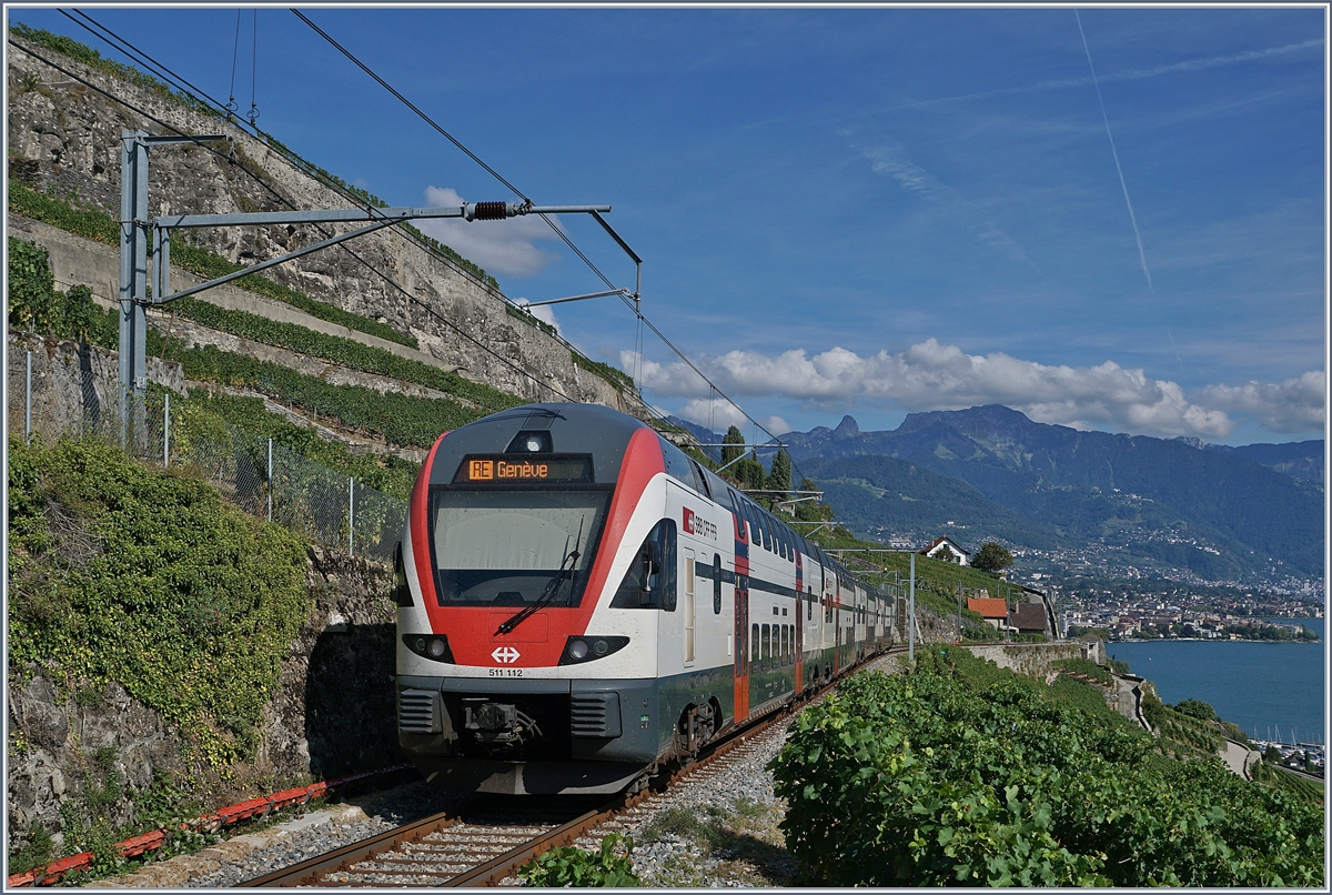 The SBB RABe 511 105 on the way to Geneva between Chexbres and Vevey.