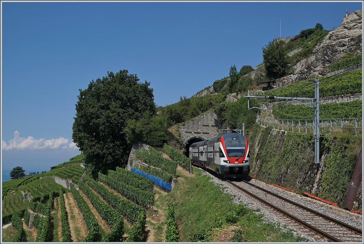 The SBB RABe 511 112 betwenn Chexbres and Vevey.