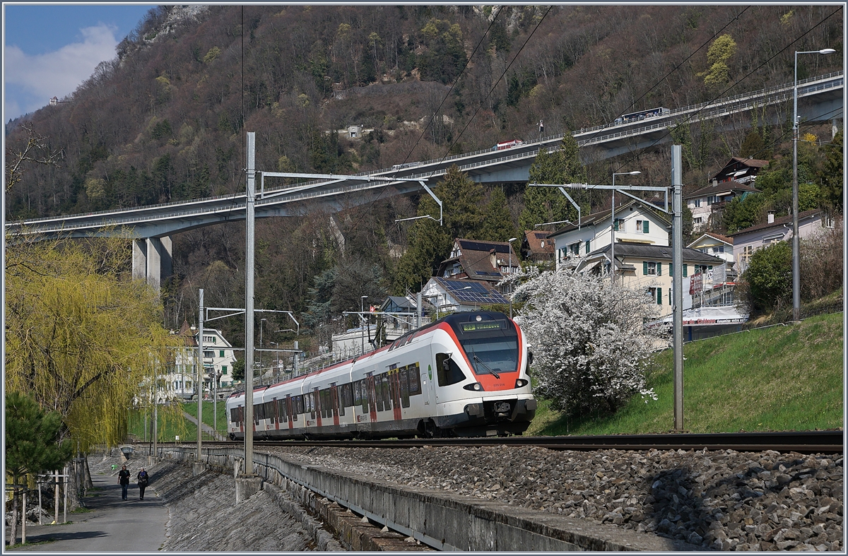 The SBB RABe 523 014 in the spring landscape by Villeneuve. 