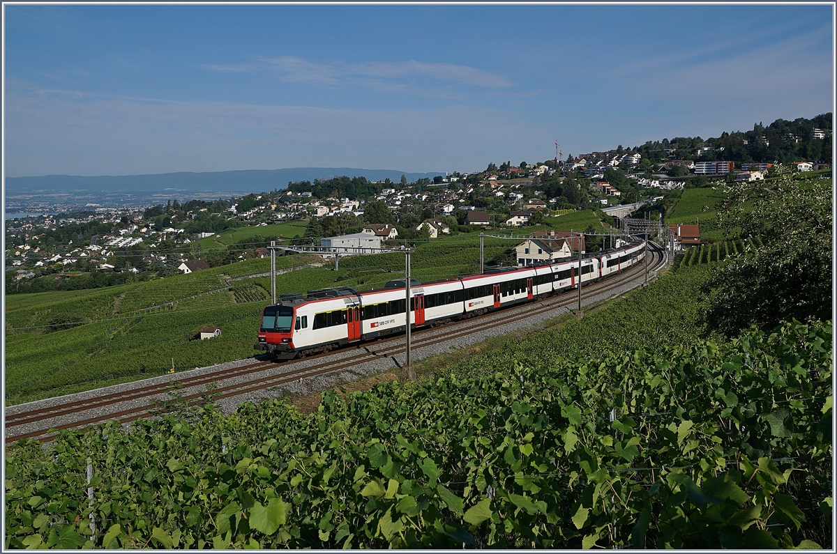 The SBB RDe 560 Dominos on the way to Lausanne by Bossière. 