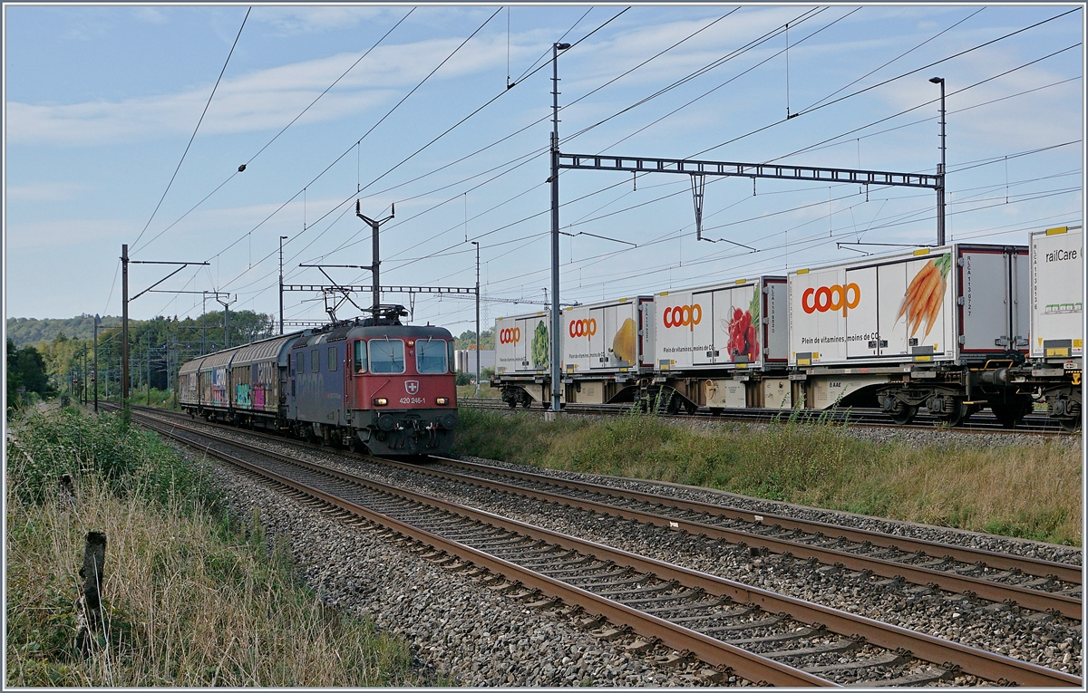 The SBB Re 420 246-1 with a shrt Cargo train in Vuffens la Ville.