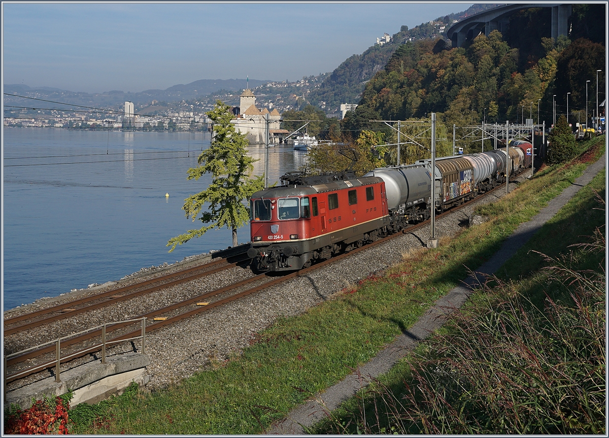 The SBB Re 420 254-5 wiht a Cargo Train by Villeneuve, in the background the Chillon Castle and the steamer  Italie , also on the way to Villenveuve.