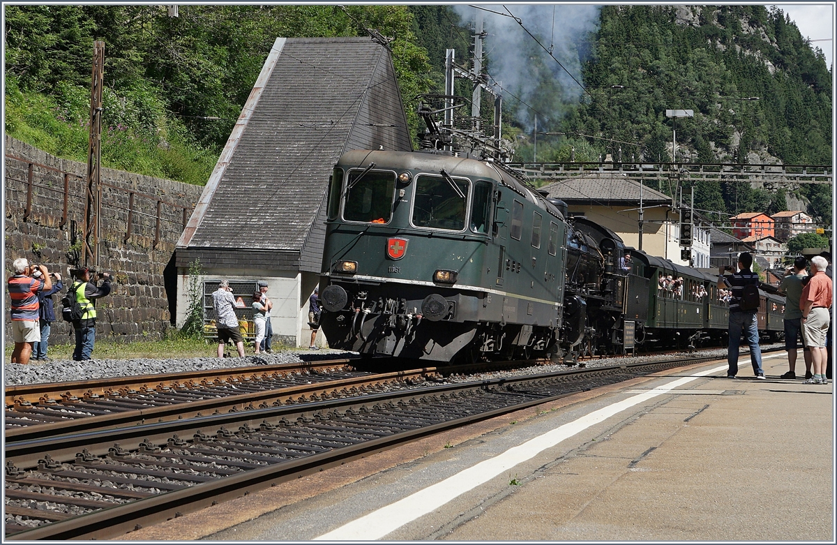The SBB Re 4/4 II 11161 and the C 5/6 2978 in Göschenen.