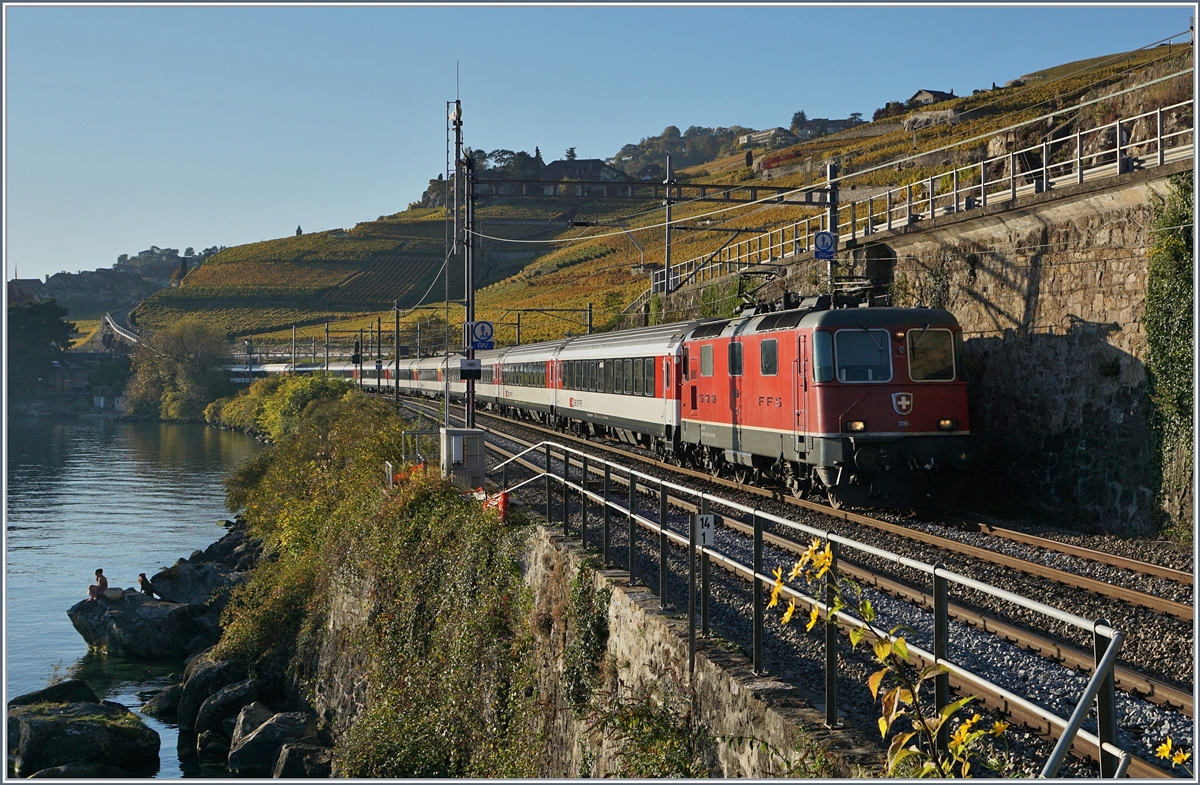 The SBB Re 4/4 II 11194 with an IR to St Maurice between Rivaz and St Saphorion. 