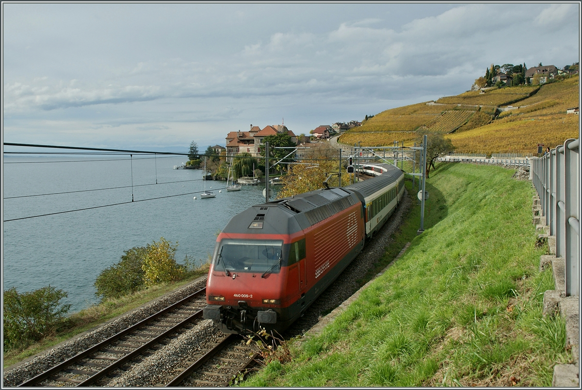 The SBB Re 460 005-2 by St Saphorin. 