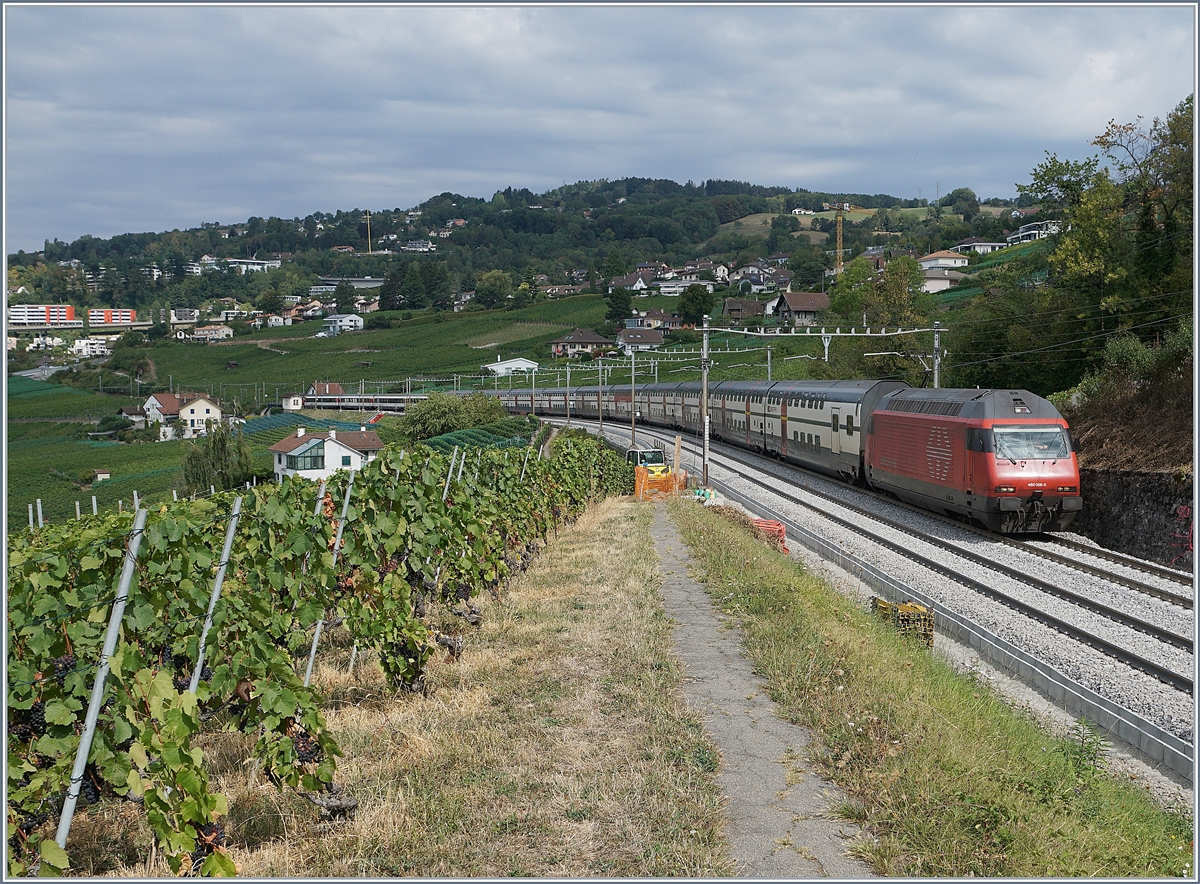 The SBB Re 460 056-5 with an IC to St Gallen by Bossière.