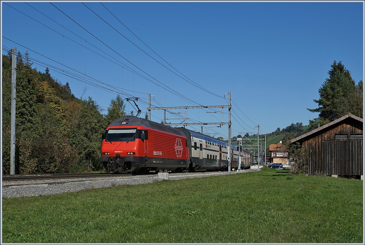 The SBB Re 460 064-9 with an IC from Romanshorn to Brig by Mülenen. 
