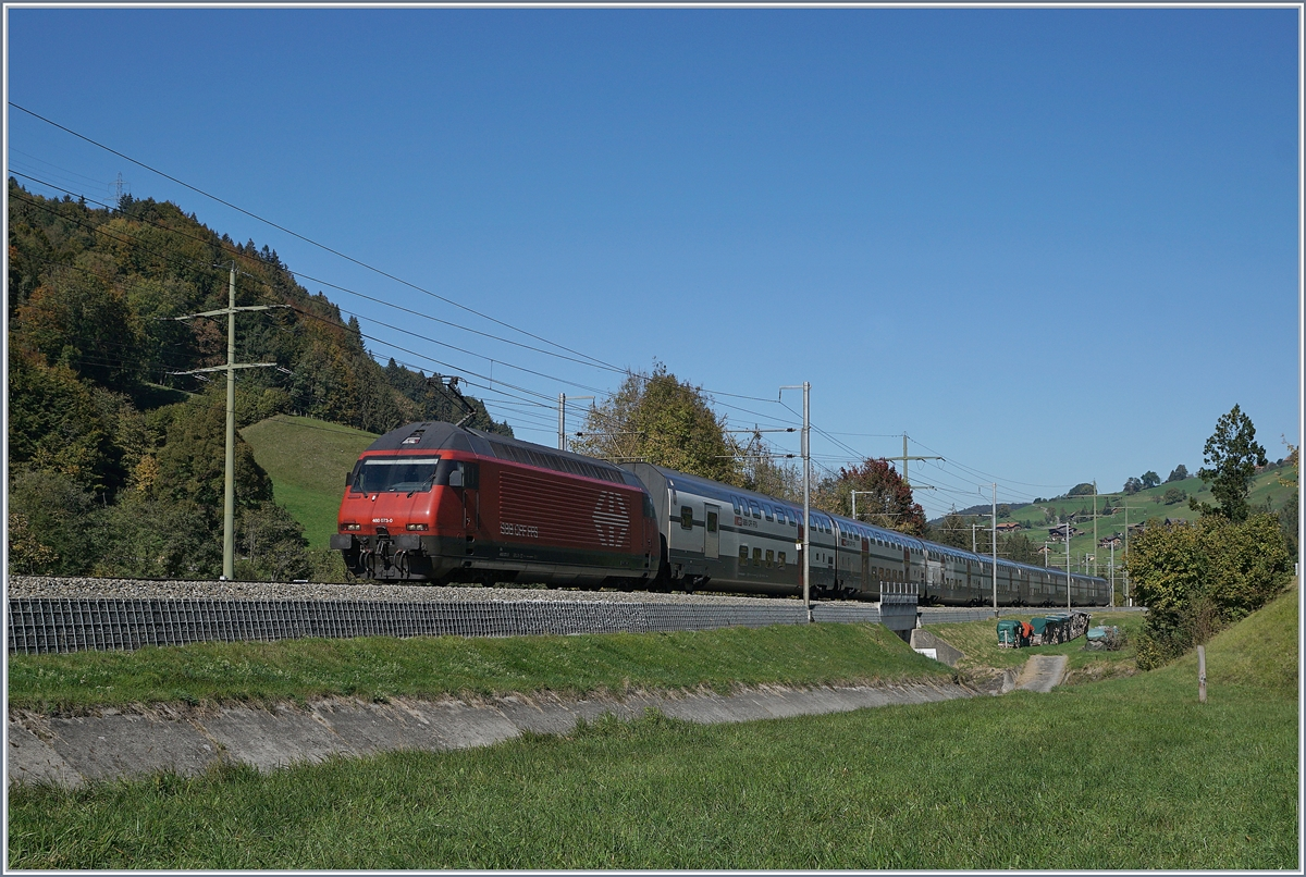 The SBB Re 460 073-0 with an IC to Brig by Mülenen.