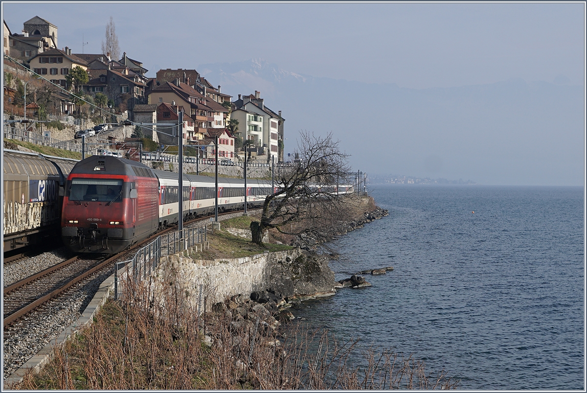 The SBB Re 460 089-6 with an IR to Geneva Airport by St Saphorin. 