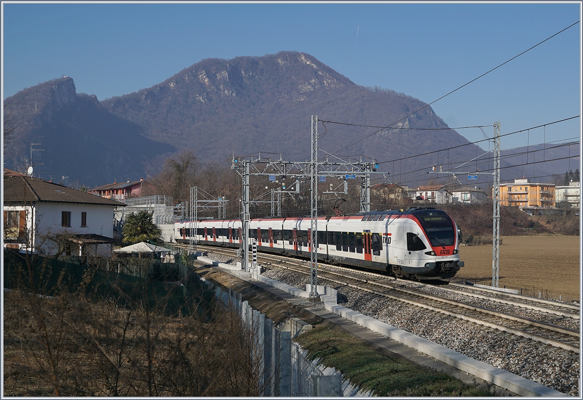 The SBB TILO RABe 524 107 by Arcisate on the way to Bellinzona.