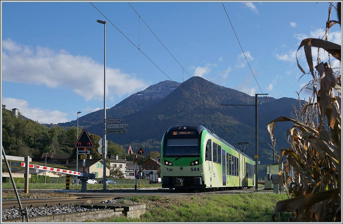 The TPC AOMC/ASD Beh 2/6 544 on the way to Monthey by St Triphon.