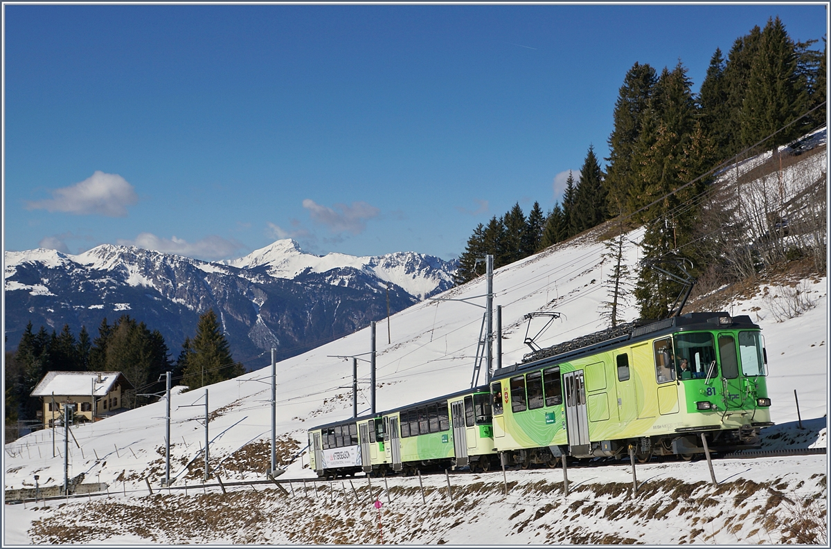 The TPC BDe 4/4 81 with a local train on the way to the Col-de-Bretaye Station near the Col-de-Soud.