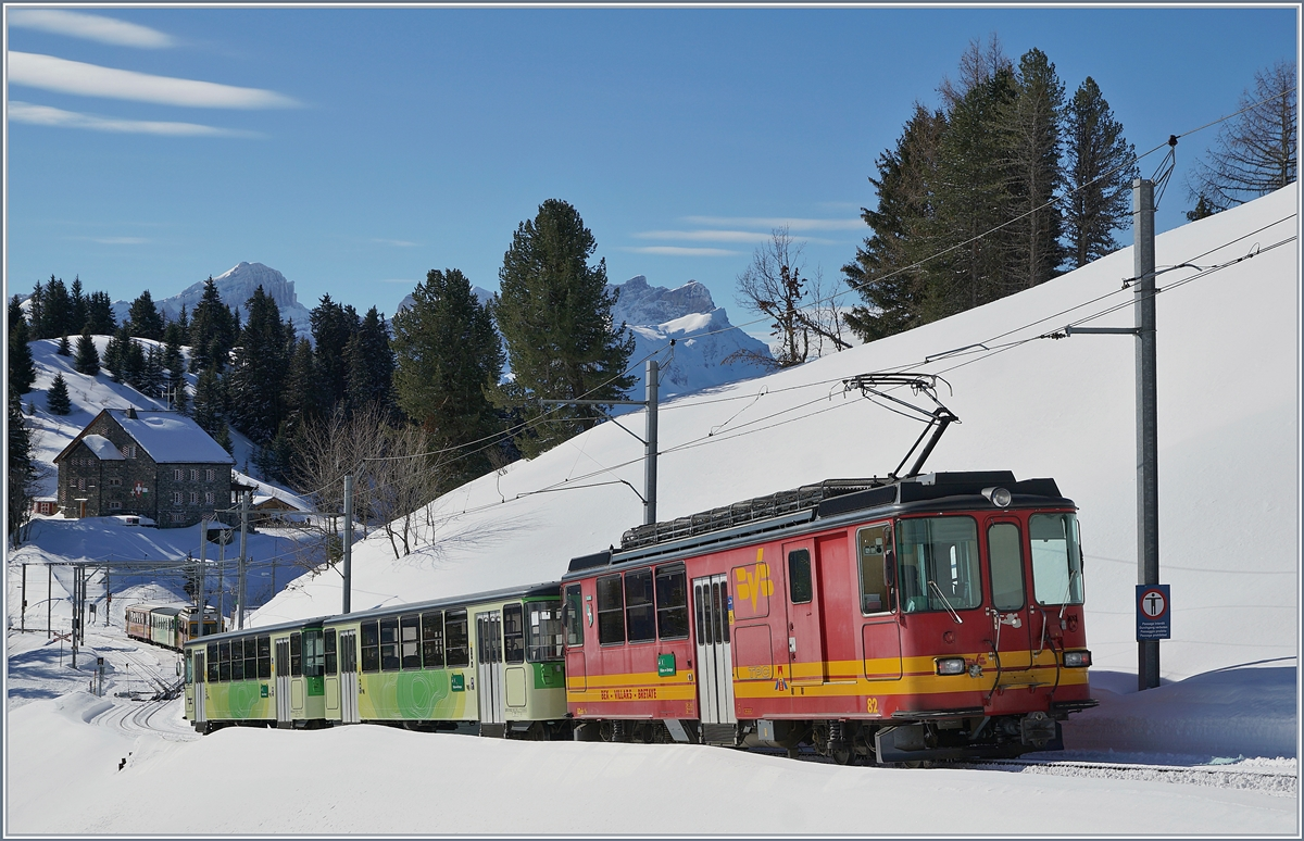 The TPC BVB BDeh 4/4 81 wiht a local train on the way to Villars near Bouquetins.
