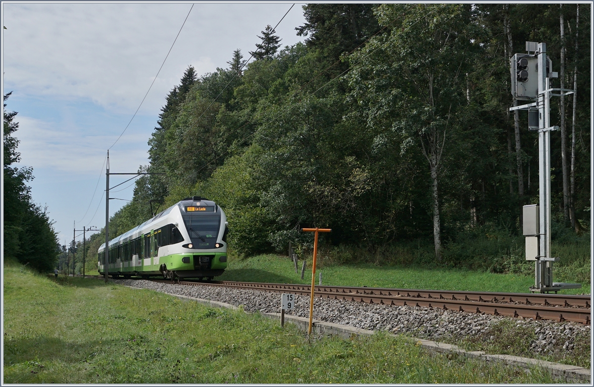 The TransN RABe 523 075 on the way to Le Locle by Geneveys sur Coffrane. 