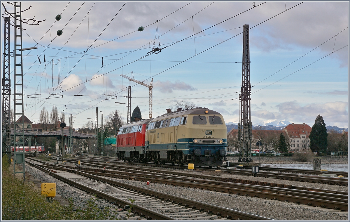 The Westfrankenbahn 218 460-4  Conny  and the DB V 218 419-0 in Lindau.