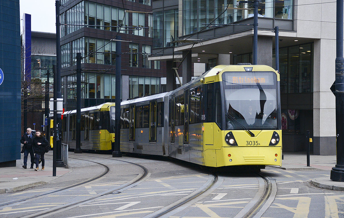 Tram 3035 (Bombardier M5000) in Aytoun Street on Manchester Metrolink to Altrincham.