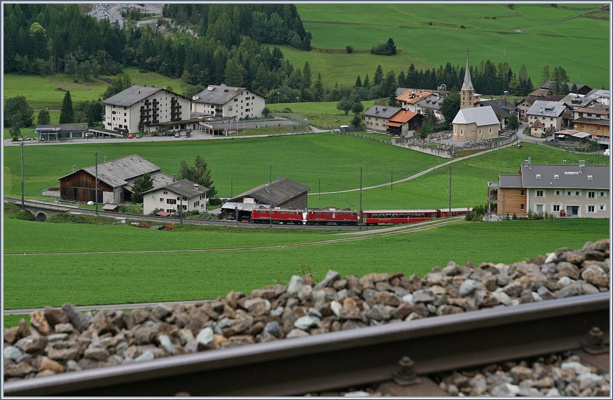 Two RhB Ge 4/4 I wiht a  Albula  fast train Service by Bergün on the way to St Moritz.