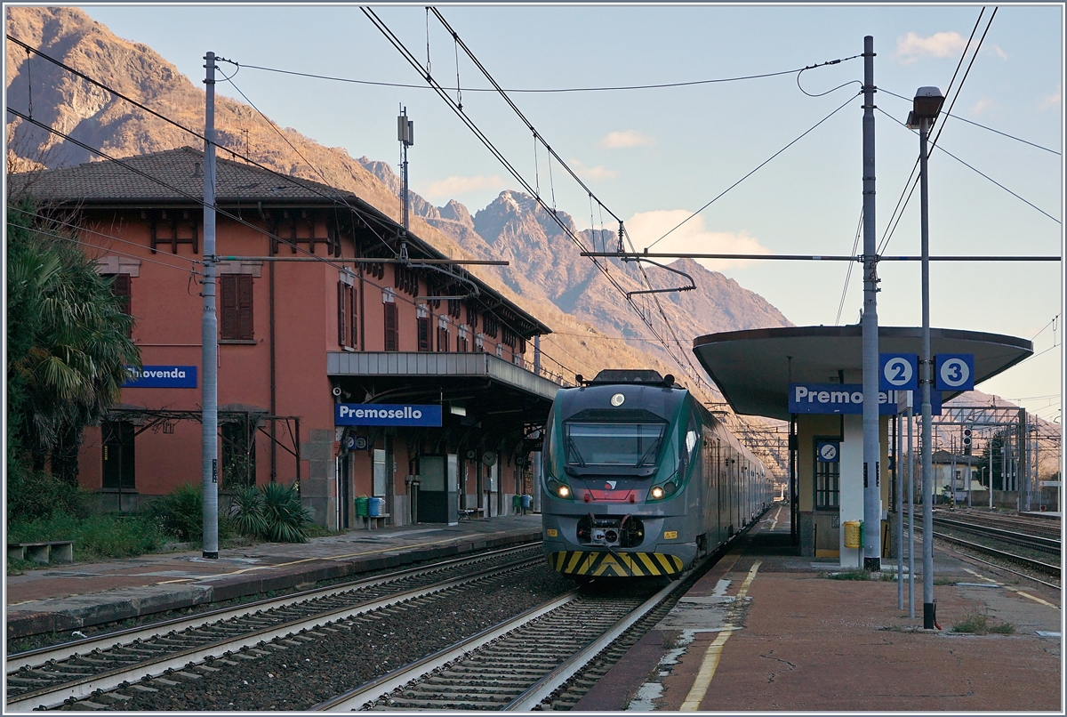 Two Trenord ETR 425 on the way to Domodossola arriving at the Premosello Chiavenda Station. 04.12.2018