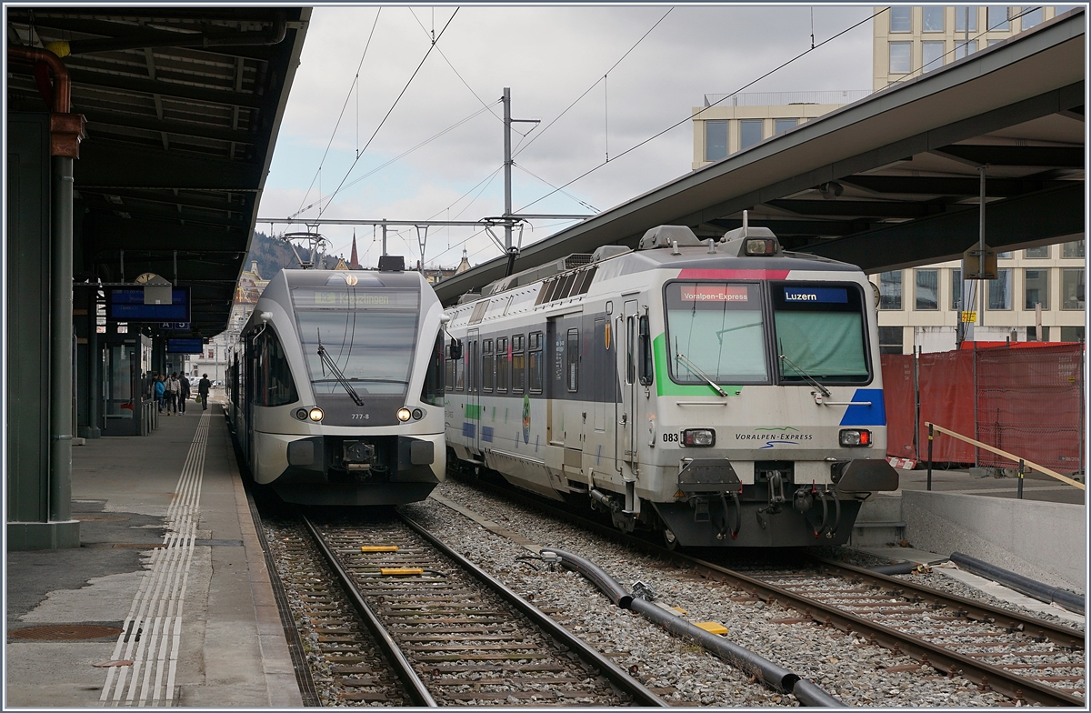 Voralpenexpress (VAE) and Turbo GTW in St Gallen.