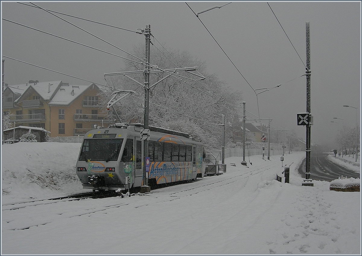 Winter in Blonay wiht the CEV Beh 2/4 72.