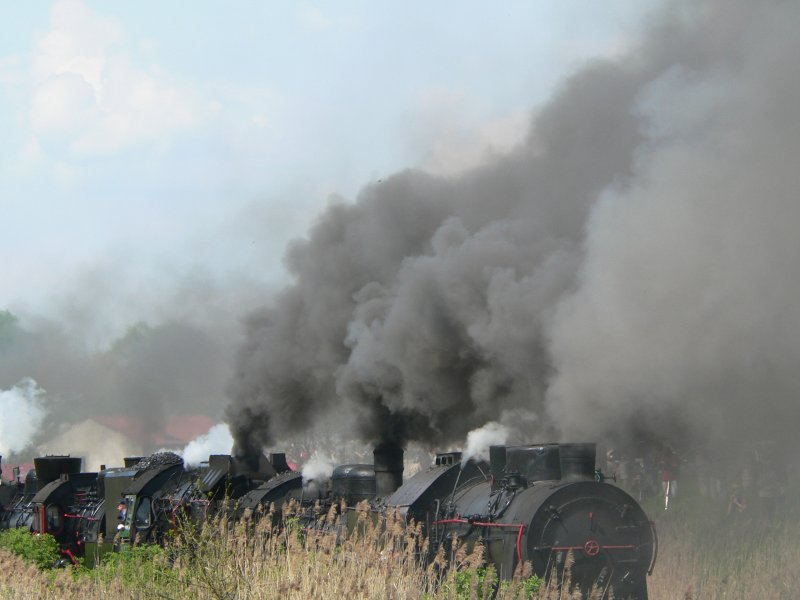 Every year there is a Steam locomotives parade in Wolsztyn, with locomotives from Poland, Germany, Hungary, Czeshia und Great Britain. This photo is taken on the Parade 2008