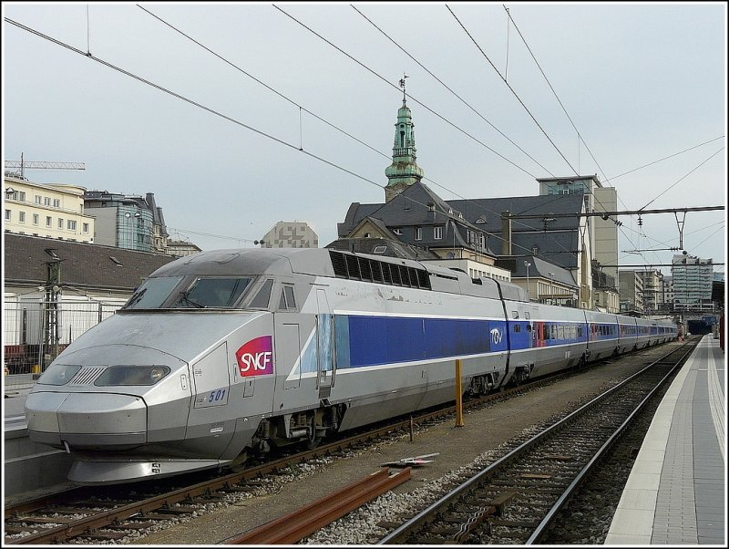 TGV Atlantique/Réseau will leave in few minutes the station of Luxembourg City on May 9th, 2009.