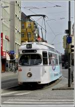Tram N° 76 is running through the Salurner-Straße in Innsbruck on March 8th, 2008.