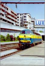 The SNCB/NMBS 5523 in Luxembourg City. 