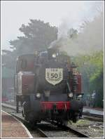 The steam engine TKh 5387 is running throught the station of Maldegem on May 1st, 2009.