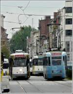 Several trams are running through the Gemeentestraat in Antwerp on September 13th, 2008.