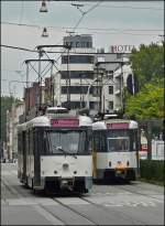 Two trams are meeting in Gemeentestraat in Antwerp on September 13th, 2008.