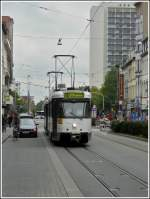 Tram N° 7077 is running through the Gemeentetraat in Antwerp on September 13th, 2008.