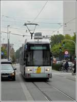 Tram N° 7201 is running through the Gemeentestraat in Antwerp on September 13th, 2008.