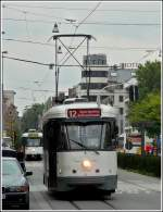 Tram N° 7052 is running through the Gemeentestraat in Antwerp on September 13th, 2008.