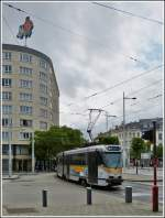 The tram N° 7919 is running on the place Bara in Brussels on June 24th, 2012.