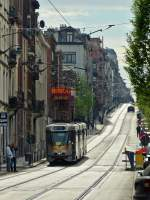 . Tram N° 7938 is running through Rue Théodore Verhaegen in Brussels on April 6th, 2014.