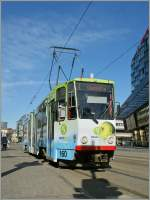 The Tatra tram 160 on the service line 4 to Ülemiste by the stop on the Viru Square.. 06.05.2012