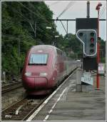 The PBKA Thalys unit 4307 is entering into the station Verviers Central on July 12th, 2008.