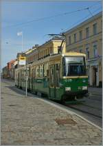 The HSL Tram N° 92 in the Aleksanterinkatu-Street. 