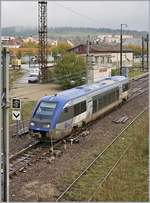 The SNCF TER X 73608 is leaving Pontarlier on the way to Dole. 