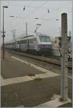 In the fog: SNCF Sybic 26 163 with a fast train to Lyon in Strasbourg.